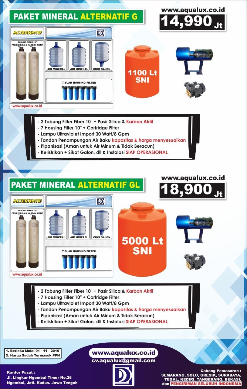 Distributor mesin Air Isi Ulang Aqualux